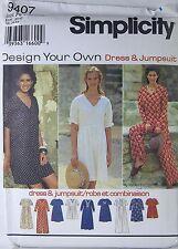 SIMPLICITY 9407 Uncut Pattern Size: AA XS S M Misses Dress or Jumpsuit 1995 New