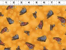 Fat Quarter Embracing Horses Birds Gold Cotton Quilting Fabric - Laurel Burch