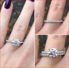 14K White Gold 2 Carat Brilliant Round Solitaire Moissanite Engagement Ring Set