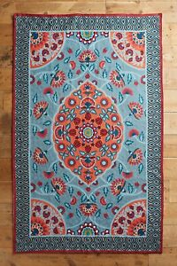 Anthropologie Poala Wool Crewel Embroidered Rug Hanging Tapestry MSRP $798 5x8