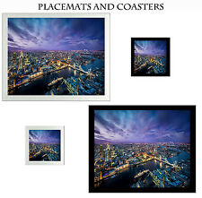 Set Glass Coasters & Placemats Table Mats Black or Silver London Tower Bridge