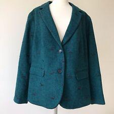 Talbots Aberdeen Dachshund Dog Print Green Wool Blazer Women Plus Size 18W NWT