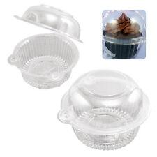50Pc Clear Plastic Single Cupcake Cake Case Muffin Pod Dome Holder Box Container