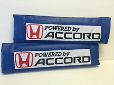 Powered By ACCORD 2Pcs BLUE Pleather Embroidery Car Seat Belt Shoulder Pads NEW
