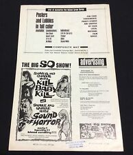"original 1968 ""Kill Baby Kill"" Grindhouse Movie Pressbook Sound of Horror 4pp."
