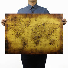 "Vintage Poster Navigation Treasure World Map Home Bar Art Wall Decor 28""x20"""