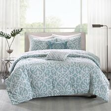 Beautiful Modern Elegant Chic Blue Aqua Scroll Comforter Set King Or Queen Szs