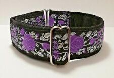 "Purple Silver Roses House Dog Collar 1.5"" Greyhound Lurcher Pod Saluki Whippet"