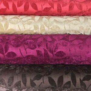 Designer Heavy 'Henley' Leaf Chenille Plush Velvet Curtain Fabric Upholstery