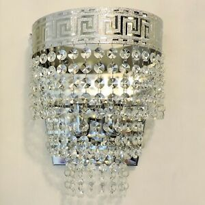 Crystals Applique Silver Chrome Light Wall Brilliant, Made IN Italy! Deal