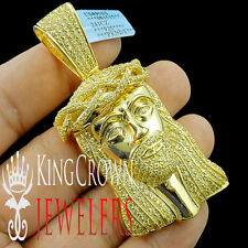 Canary Jesus Piece Pendant Charm Face Real Yellow Gold Silver Simu Diamond 3''
