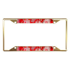Fuchsia Flower Full Color Metal License Plate Frame Tag Border