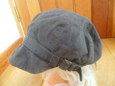 MONSOON ACCESSORIZE DARK CHARCOAL GREY STRAP BAND SOFT PEAKED HAT CAP BAKER BOY
