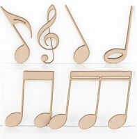 Wooden MDF Craft Music Notes Symbols Shapes 3mm Thick Embellishments Treble Clef