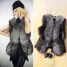 Women Faux Fur Vest Waistcoat Gilet Sleeveless Jacket Coat Outwear Short Slim US