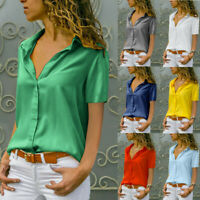 Fashion Womens Chiffon Loose T-Shirt Office Ladies Plain Short Sleeve Blouse Top