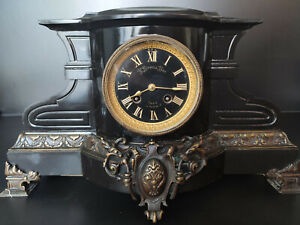 ANTIQUE 19th C FRENCH Bronze Marble CLOCK
