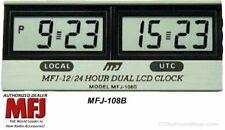 MFJ-108B - 12/24 Hour Dual LCD Clock, Quartz, Long Life Battery Included (NEW)
