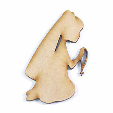 10x WOODEN COMMUNION GIRL SHAPES gift tag craft card scrapbook embellishment art