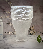 "Lalique French Crystal Oceania Dolphins Vase Large 14"" 24lb Mint Signed Gorgeous"