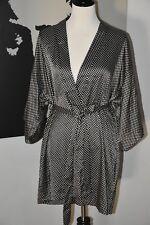 NWT Victorias Secret Satin Kimono Robe Belted Black White size M/L