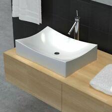 vidaXL Bathroom Ceramic Porcelain Sink Art Basin White High Gloss Fixture
