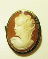 Brooch Pin Pendant 4g Vintage 800 Silver Cameo Shell