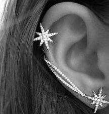 Punk BUAU Antique Silver Snowflake Rhinestone Clip Ear Cuff Wrap Stud Earrings