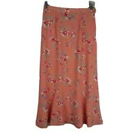 Sag Harbor Women's Dressy Skirt ~ Sz 8P ~ Orange ~ Long ~ Stretch Waist ~ Floral