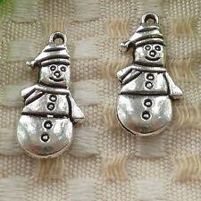 free ship 70 pieces tibetan silver snowman charms 25x12mm #3638