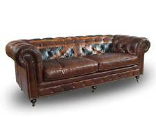 Vintage Echtleder Chesterfield Sofa Union Jack Ledersofa 3-Sitzer Vintage Cigar