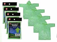 4 Green Emergency Rain Poncho Camping Hiking sport bug-out-bag Disaster Outdoors