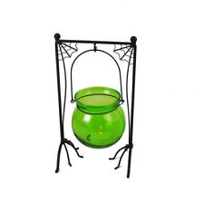 NEW Green Glass Cauldron & Spider Web Metal Hanger