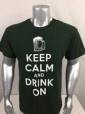 Mens Large Black Tshirt Keep Calm And Drink On By Gildan