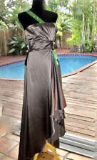 Versace Silver Silk Eve Gown Elegant Long Dress w/Emerald Crystals  IT44 M 8