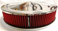 "New Universal 9 x 2"" Chrome Air Cleaner w/ Red Washable K&N Style Air Filter 9x2"