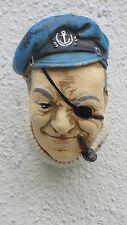 Büste Seemann Mit Pfeife Kopf Pirat Wandmaske Kapitän Wandbild Figur Skulptur