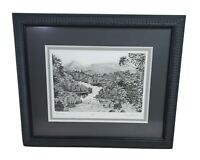 """Pencil Drawing Landscape with Lake View Mountains Pam Peck? 1995 Art Work 15.25"""""""