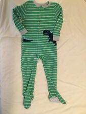 Carters Fleece Footed Pajamas, Size 4T, Green And Gray Striped With Dinosaur