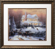 "Thomas Kinkade ""Victorian Christmas II "" New CUSTOM FRAMED Art Print LIGHT XMAS"
