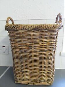 Vintage Large Wicker Firewood? Log? Basket Wood Display 47cm x 37cm x 26cm
