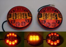2x 12V/24V LED FEUX LAMPES ARRIERES ROND - CAMION REMORQUE CARAVANE TRACTEUR E4