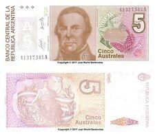 Argentina 5 AUSTRALES ND (1985-91) P-324b Billetes Unc