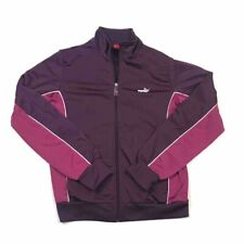 Puma Womens Track Jacket Purple Pink Color Block Zip Up Long Sleeves Mock Neck M