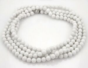 Tiffany & Co. Beads Long Strand Wrap Necklace in White Dolomite Silver Clasp 82""