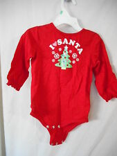 Cute red Santa christmas tree Holiday one piece Unisex snap close crotch
