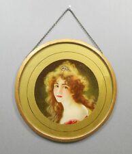 Antique Victorian Chimney Flue Cover Gold Glass Litho Print Portrait Woman Girl