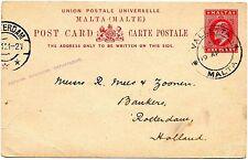 Malta 1911 Postal Stationery Card - Valetta to Rotterdam - scarce VF
