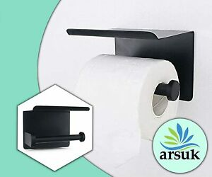 Toilet Roll Holder with Shelf Storage 2 in 1 Self Adhesive and Screws Wall Mount