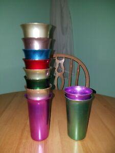 Vintage Color Craft Aluminum Tumblers Cups Set of 10